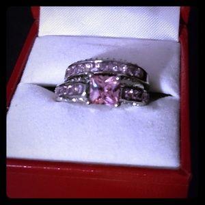 Jewelry - Size 7 pink and white CZ wedding set